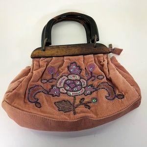 Vintage Rose Velvet Beaded Wood Handles Purse